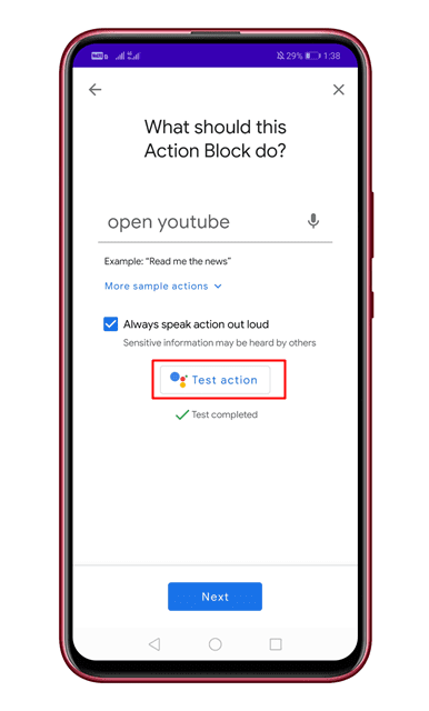 Actionblock på Android