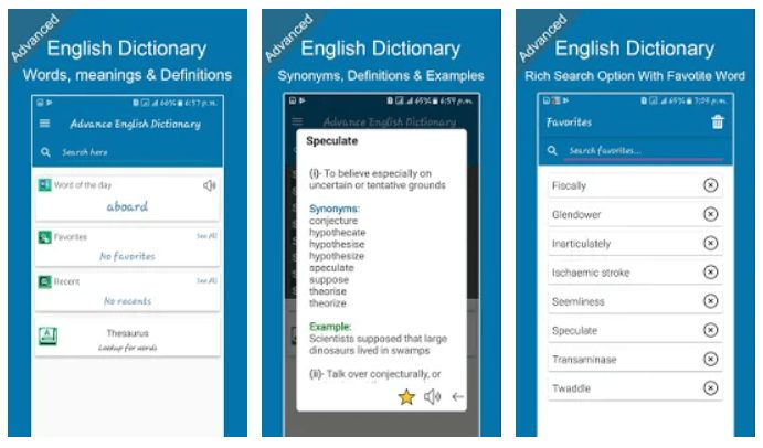 Advanced English Dictionary, Meanings & Definition By SA Technologies